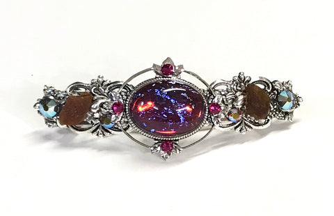 Mexican Glass Opal Hair Barrette