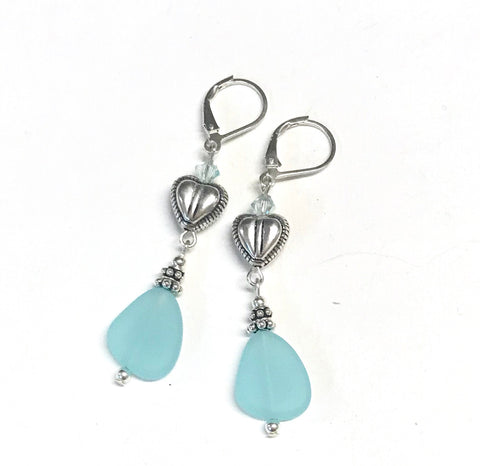 Heart Earrings Sterling Silver Glass and Crystal