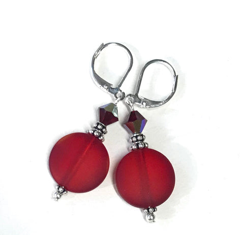 Red Glass and Crystal Leverback Earrings
