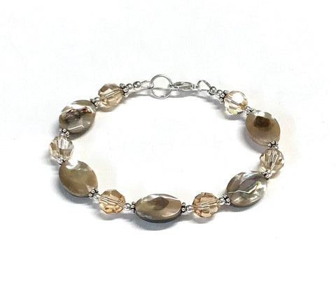 Abalone And Crystal Sterling Silver Bracelet