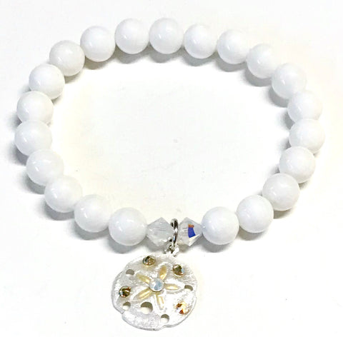 Sand Dollar Bracelet - Stretch Elastic - White Shell Beads