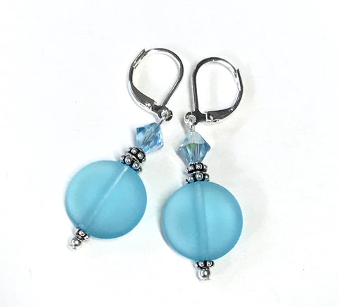 Aqua Glass and Crystal Leverback Earrings