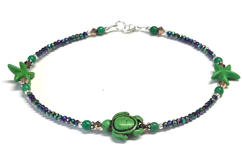 green turtle and starfish anklet
