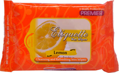 PREMIER ETIQUETTE WET WIPES LEMON
