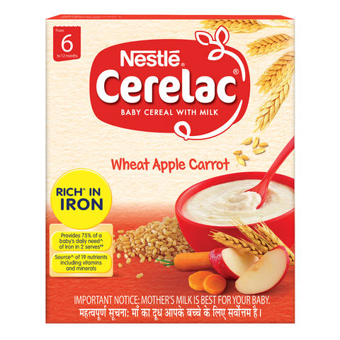 NESTLE CERELAC WHEAT APPLE CARROT FROM 6 TO 12 MONTHS