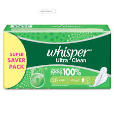 WHISPER ULTRA CLEAN  L  30PADS