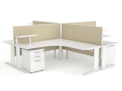CADE 4 person L Shaped desk system