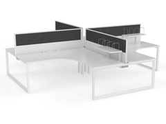 OVO 4 person L Shaped desk system
