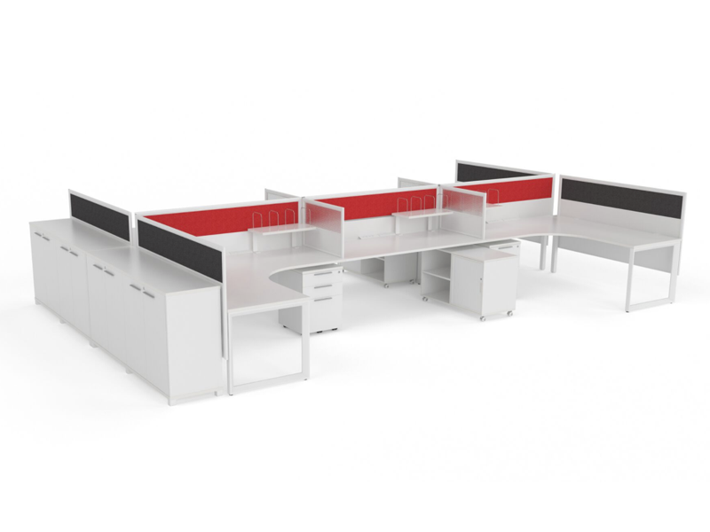 OVO 6 to 8 person L Shaped desk system