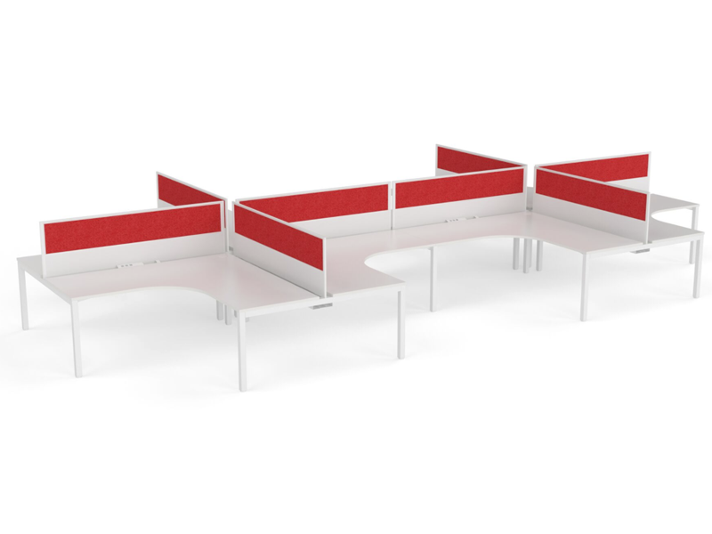 XENO 6 person L Shaped desk system