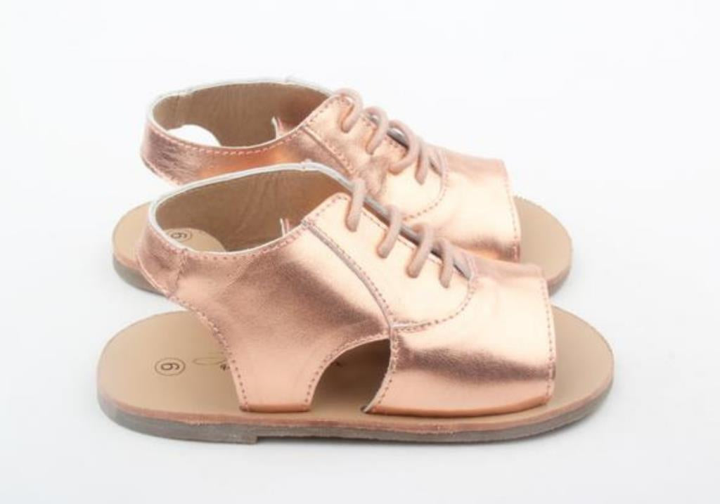 anchor and fox rose gold girls leather summer sandals