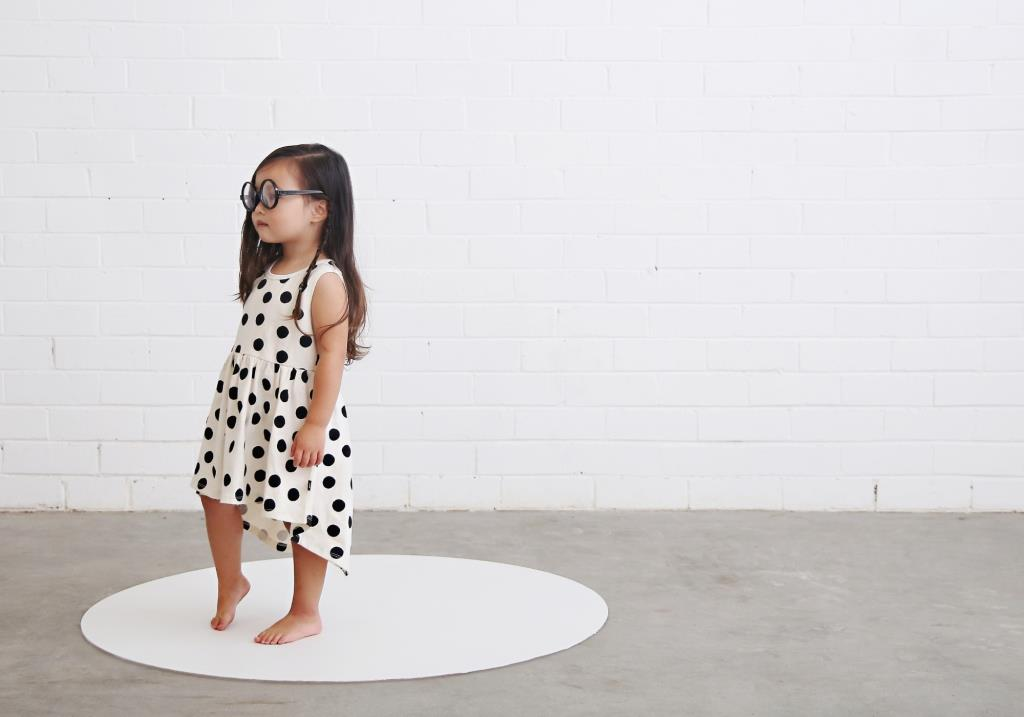 anarkid organic girls dress black and white spots