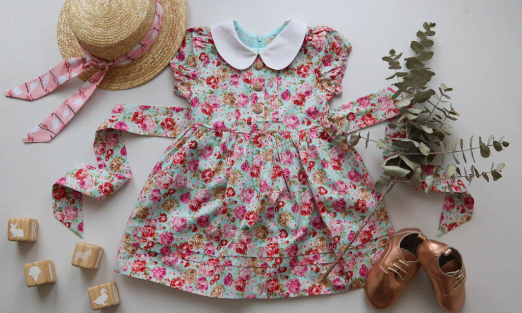 poppy harper the label blue floral vintage style girls ress exclusive to pretty without pink