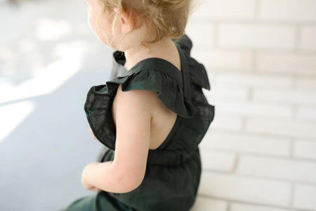 Girls forest green linen jumpsuit Two Darlings