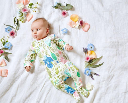 wilson & frenchy long sleeve floral baby girl zipsuit