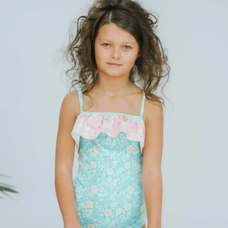 oobi girls one-piece swimmers green peony with pink ruffle