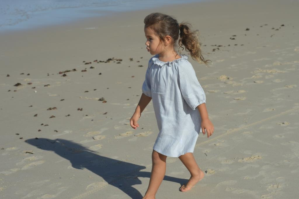 girls 3/4 sleeve grey linen dress swell & solis