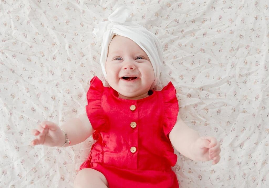 red linen christmas outfit for baby girl