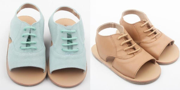 anchor and fox girls and toddler sandals in suede seafoam and tan leather