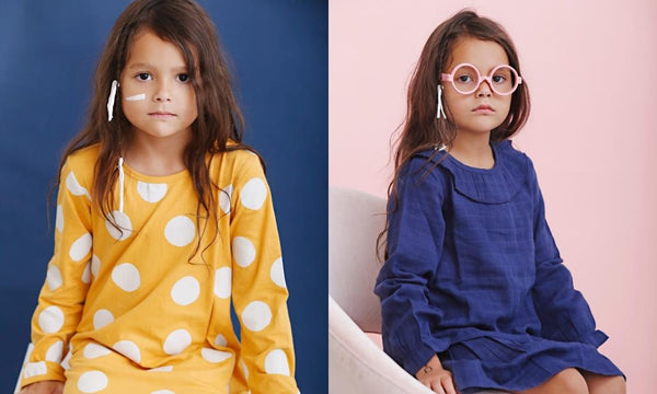 anarkid mustard long sleeve girls dress and navy muslin girls dress