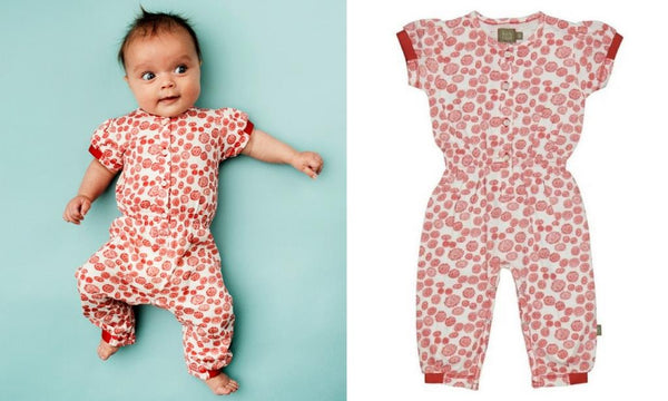 baby girl clothing organic cotton red jumpsuit