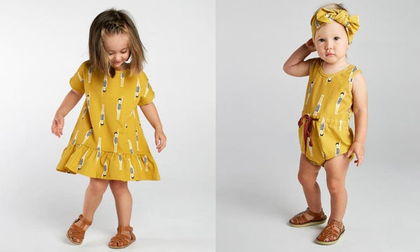 mad about mini mustard bather girl dress and baby romper
