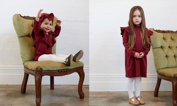 matching sister outfits long sleeve red baby romper and matching sister's long sleeve ruby red dress