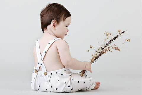 anarkid bubble dot organic cotton overalls ethically made baby clothes