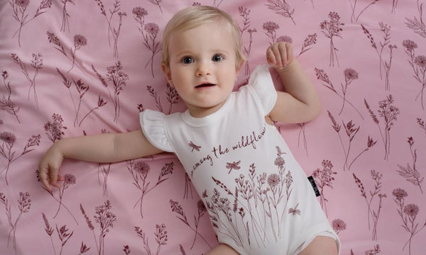 baby girl organic onesie fluter sleeve wildflowers aster &oak