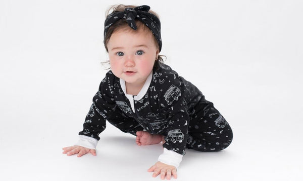 aster & oak black baby girl zip romper and top-knot headband