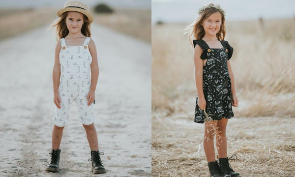 organic girls jumpsuit meerkat print organic black combi dress aster & oak