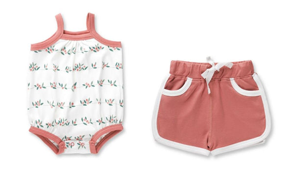sapling child white organic baby romper with coral trim and coral retro baby shorts