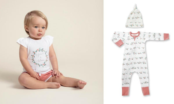 toddler girl wearing sapling child berry buds tee and retro shorts newborn long sleeve white zip romper and hat