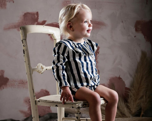 anarkid block stripe girls smock and matching bloomers