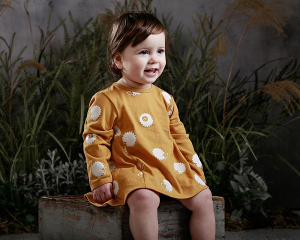 anarkid organic cotton girls dress mustard hedgehog print