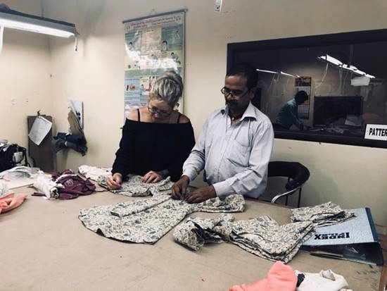 Kelli Milne anarkid designer at ethical factory in india