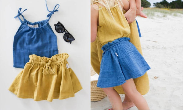 le edit organic ava skirt and marni singlet in sunshine and blue
