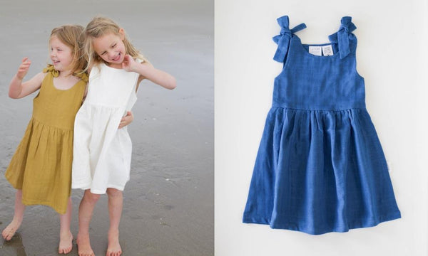 le edit organic summer girls dresses blanc sunshine and sky blue