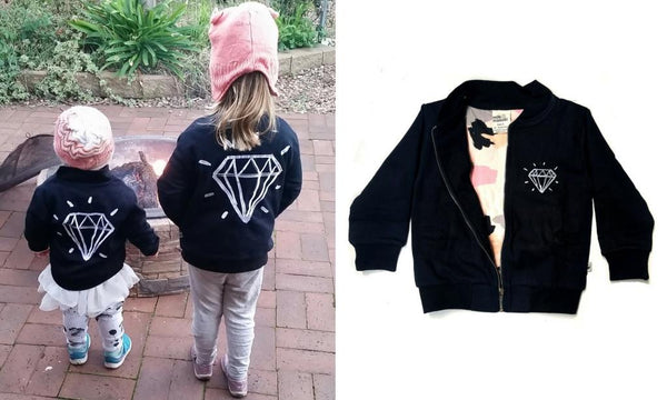 girls and toddler organic cotton black bomber jacket winter milk & masuki