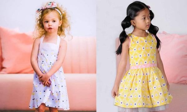 oobi girls lilac summer dress and oobi yellow girls party dress