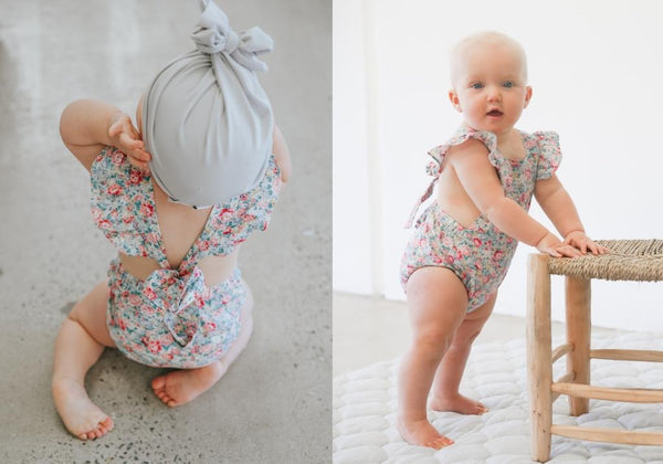 two darlings floral baby romper vintage flutter sleeves