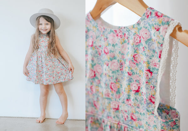 two darlings floral girls summer dress with lace trim