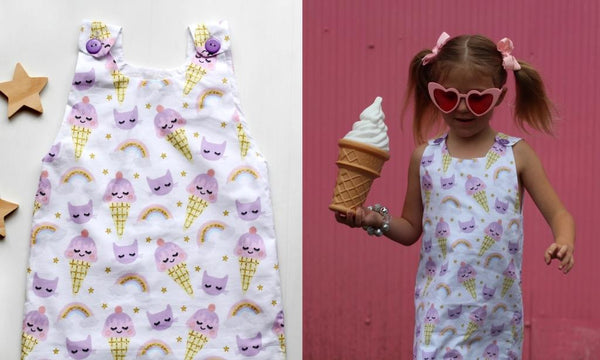the princess and the frock handmade girls dress with ice creams, rainbows and kitties
