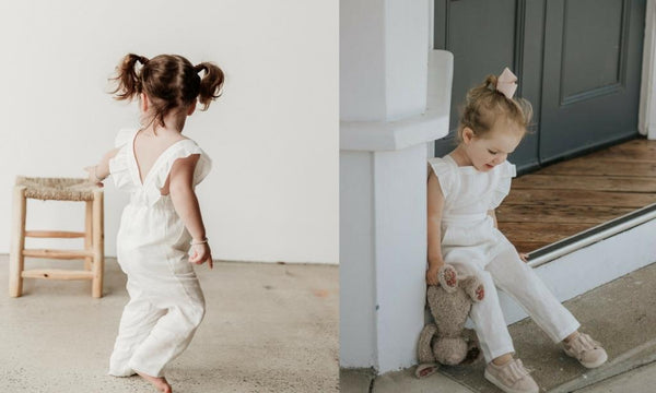 white linen girls ruffle sleeve overalls two darlings