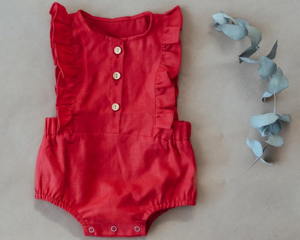 two darlings red linen christmas romper for baby girl