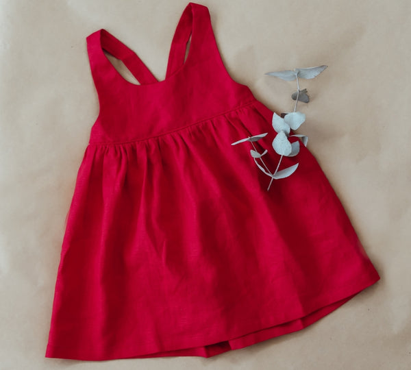 red linen girls christmas dress for toddlers and girls
