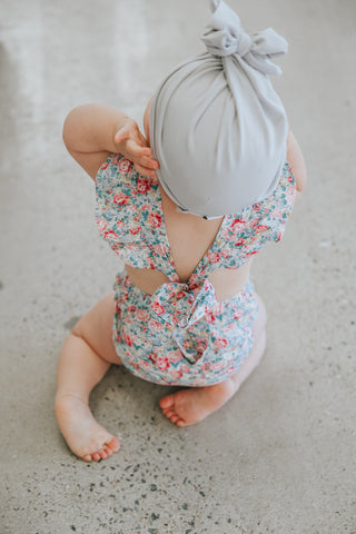 baby girl wearing flutter sleeve two darlings baby romper
