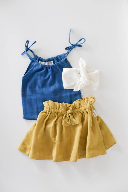 le edit blue organic muslin girls singlet with mustard skirt