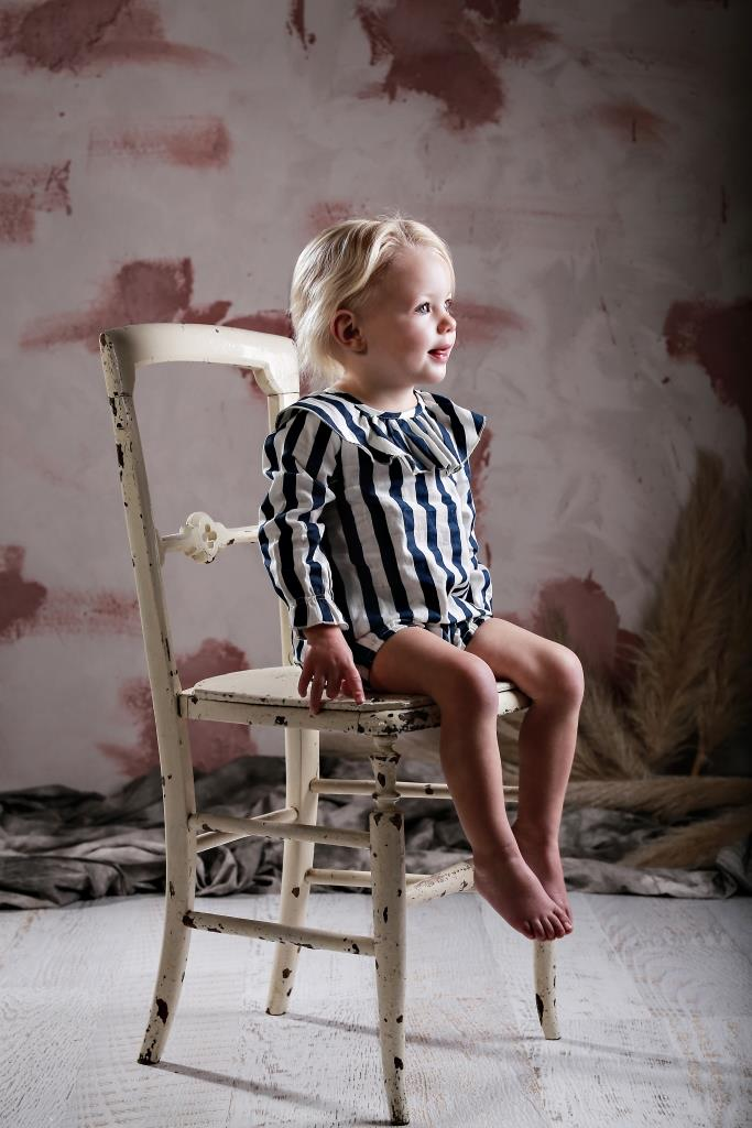Anarkid block stripe navy smock and bloomers