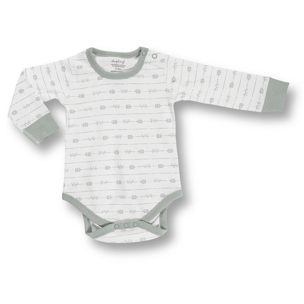 grey organic unisex baby bodysuit by Sapling Child